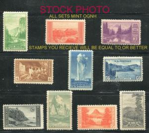 SC# 740-749 1c-10c National Parks Set Perf 11 MINT OG NH