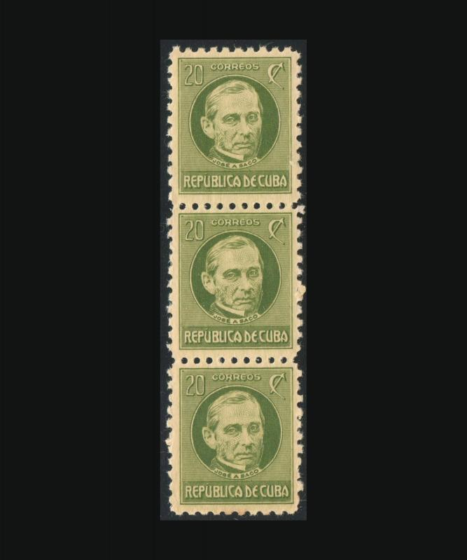 VINTAGE:CUBA 1925 strip 3 ognh  SCOTT 279  LOT 2712