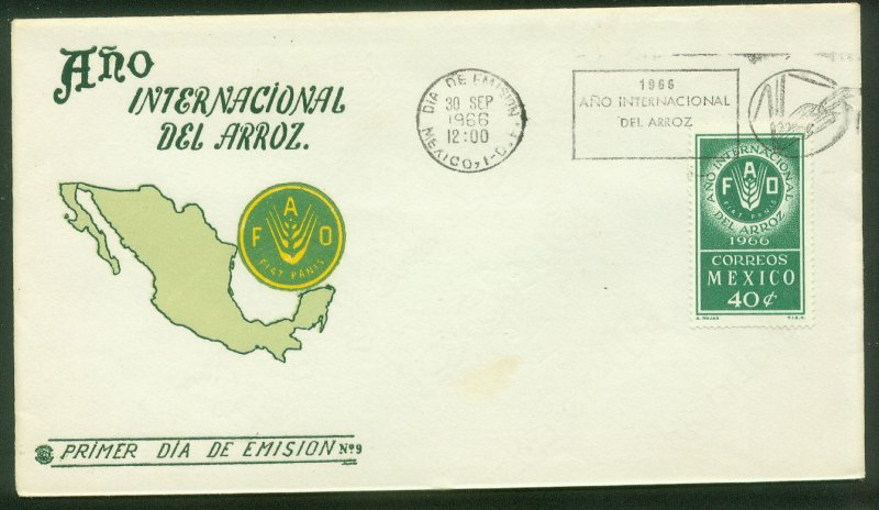 MEXICO 973, FAO INTERNATIONAL YEAR OF RICE. FDC VF. (68)