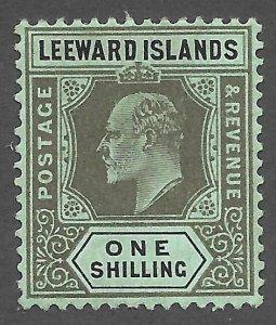 Doyle's_Stamps: 1911 MH Leeward Islands King Edward VII 1 Shilling, Scott #38*