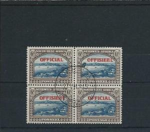 SOUTH WEST AFRICA OFFICIAL 1945-50 6d BLUE & BROWN BLK OF FOUR FU SG O22