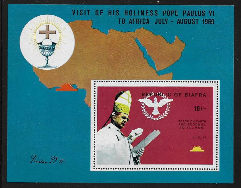BIAFRA  31 MNH  POPE PAUL PEACE ON EARTH SOUVENIR SHEET