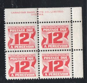 Canada Sc J36 1969 12c postage due stamp plate block of 4 UR mint NH