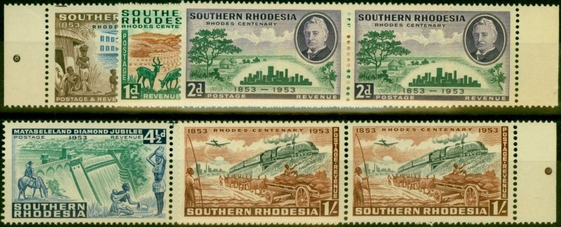 Southern Rhodesia 1953 Rhodes Set of 5 SG71-75 in Fine MNH Pairs