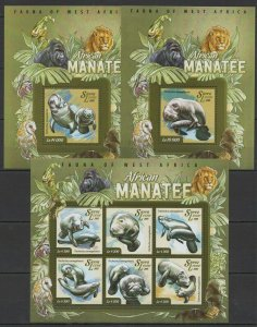 ST579 2015 SIERRA LEONE ANIMALS FAUNA AFRICAN MANATEE KB+2BL MNH STAMPS
