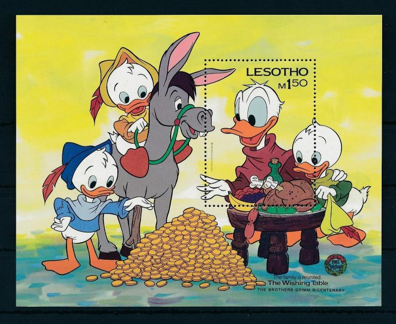 [22298] Lesotho 1985 Disney 200th Birthday Brothers Grimm, Donald Duck MNH