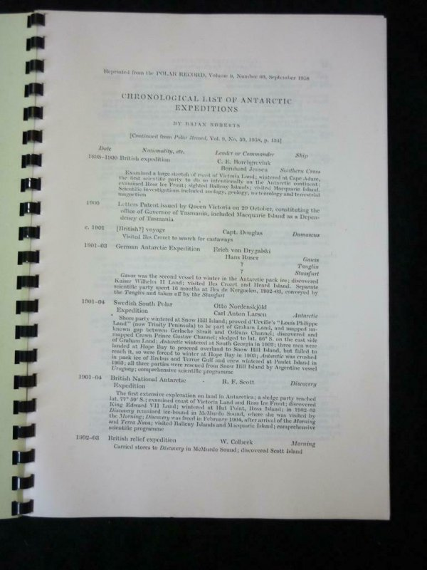 CHRONOLOGICAL LIST OF ANTARCTIC EXPEDITIONS by BRIAN ROBERTS (POLAR RECORD)