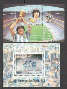 NW0146 Central Africa Fußball-wm Maradona Olympische Spiele La 1984 2BL MNH