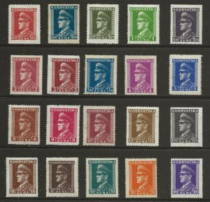 Croatia  (1943)  - Scott # 61 - 80,     MNH