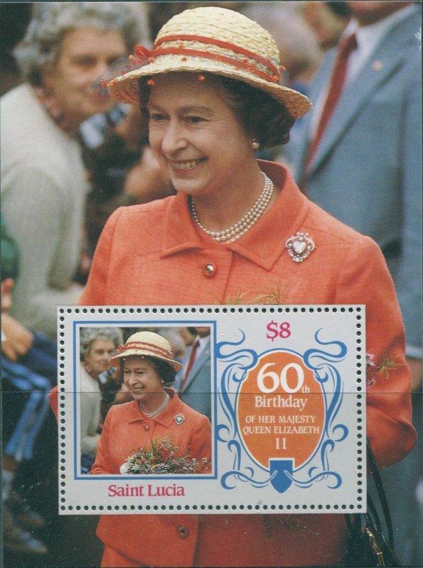 St. Lucia MNH S/S Queen Elizabeth II 60th Birthday 1986