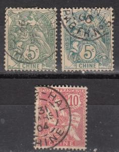 France Off China 3 Diff Used F/VF 1901-3 SCV $9.60