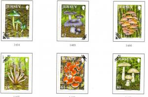 Jersey Sc 1402-7 2009 Mushrooms stamp set used