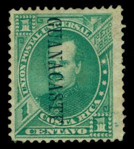 COSTA RICA 1885 GUANACASTE - Gen. P Fernandez 1c green Sc# 35 mint cv $3000 Rare