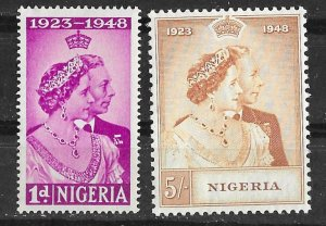Nigeria # 73-74  Silver Wedding 1948  (2)  VLH  Unused