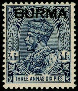BURMA SG8, 3½a deep blue, LH MINT.