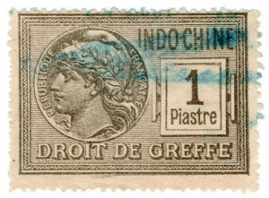 (I.B) France Colonial Revenue : Indo-China Court Fees 1pi (Greffe)