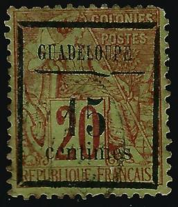 French Guadeloupe (Scott #4) Used Fine hr..French Colonies are hot!