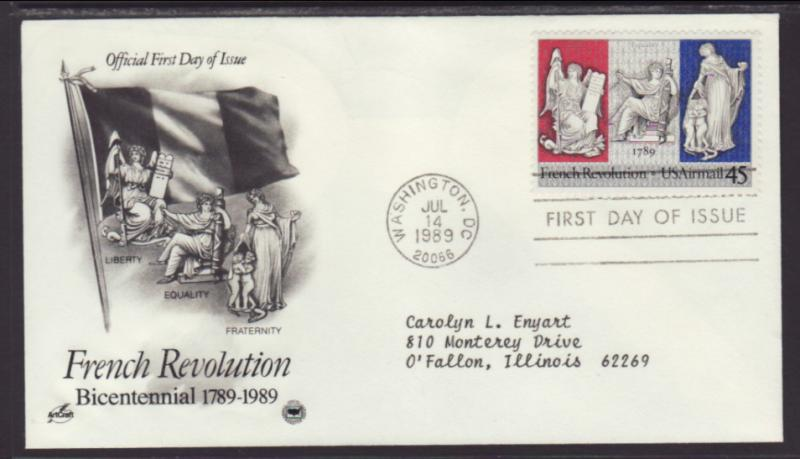 US French Revolution 1989 PCS Typed FDC BIN