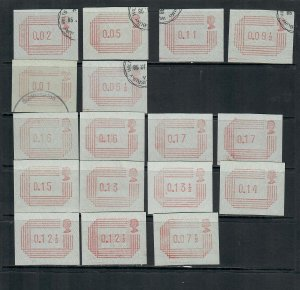 G.B 1984 POSTAGE LABELS x17 MINT NEVER HINGED AND USED 101120