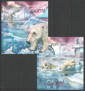 J1096 2012 GUINEA-BISSAU FAUNA BIRDS ANIMALS GLOBAL WARMING BL+KB MNH
