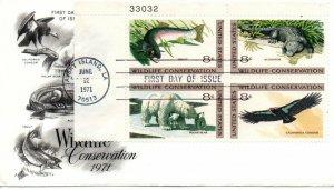 US FDC #1430a Wildlife Plate Block, ArtCraft (7257)