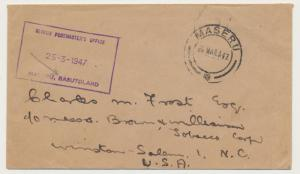 BASUTOLAND 1947 OFFICIAL COVER, BOXED CACHET, MASERU TO USA  (SEE BELOW)