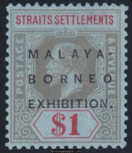 1922 Straits Settlements $1 Black & Red on Blue, SG 247b MH with cert