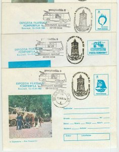 63255 - ROMANIA - Set of 6 POSTAL STATIONERY COVERS: FIRE Firefighting  1982
