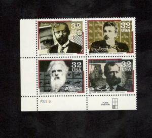 3061-64 Pioneers Of Communication Plate Block Mint/nh (Free Shipping)