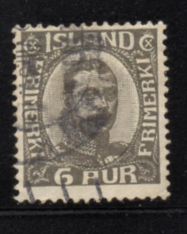 Iceland Sc 113 1920 6 aur dark gray Christian X stamp used