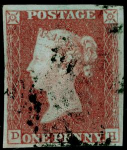 SG8, 1d red-brown, FINE USED. Cat £30. 4 MARGINS. DH