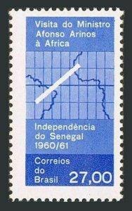 Brazil 920 two stamps,MNH.Mi 1002. Visit of Afonso Arinos,Senegal,1961.Map