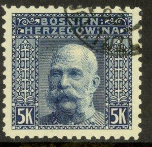BOSNIA AND HERZEGOVINA 1906 5K FRANZ JOSEPH P. 9 1/4 Sc 45a VFU