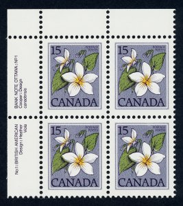 Canada 787iii TL Plate Block MNH Canada Violet, Flower