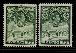 TURKS AND CAICOS ISLANDS GVI SG204 + 204a, 5s SHADES, LH MINT. Cat £115.