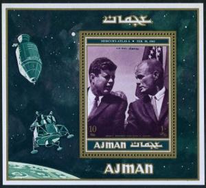 Ajman 990 Bl.296A-296B Michel,MNH. John Kennedy & John Glenn.Apollo program 1971