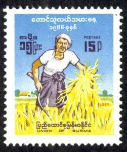 Burma Sc# 193 MH 1966 Rice Farmer
