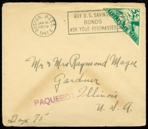 EDW1949SELL : LIBERIA Nice single usage on 1941 Paqueboat cover to USA.