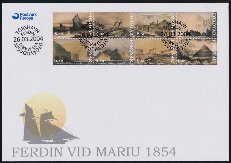 Faroe Islands 442a-h on FDC - Cruise of Yacht Maria