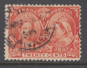 Canada Sc 59 used. 1897 20c Jubilee, sound, F-VF
