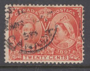Canada Sc 59 used. 1897 20c Jubilee, sound, F-VF