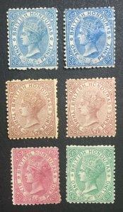 MOMEN: HONDURAS SG #5-9,10 P12.5 CROWN CC 1872-9 MINT OG H £1,725 LOT #61231