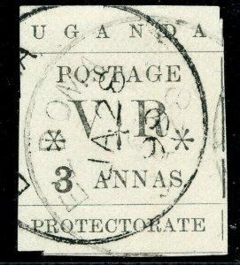 Uganda 1896 QV 3a black very fine used. SG 57. Sc 64.