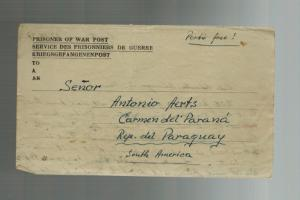 1947 Egypt MELF German POW Prisoner of War Ltr Cover to Paraguay Antonio Aerts