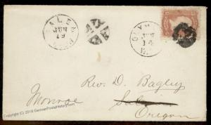 USA 1860s OLYMPIA Oregon Washington Territory to Salem Cover 88551
