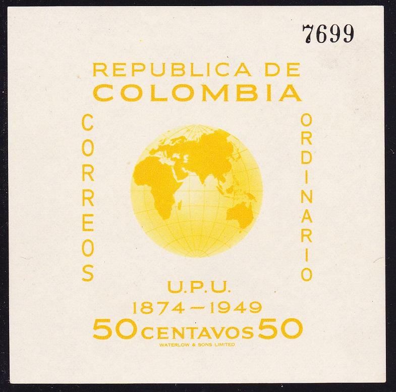Colombia 75th Anniversary of UPU MS Ordinary mail SG#728a SC#587 MI#Block 5