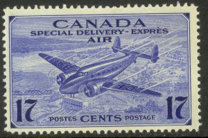 CANADA 1942-43 17c TRANS CANADA  AIRPLANE Airmail Special Delivery Sc CE2 MH