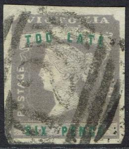 VICTORIA 1854 QV TOO LATE 6D IMPERF USED