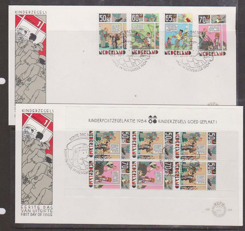 Netherlands - 1984 Comic Characters First Day Covers