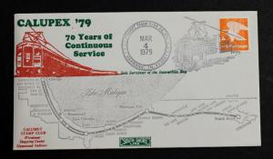 Calupex 1979  With Sc# 1735 70 Years of Continuous Rail Service South Shore Line